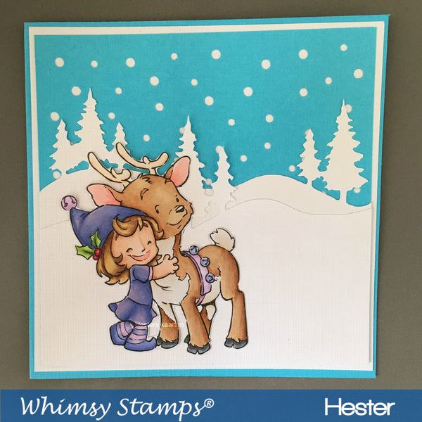 Cinnamon and Reindeer - Digital Stamp - Whimsy Stamps