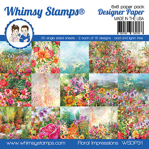 **NEW 6x6 Paper Pack - Floral Impressions - Whimsy Stamps