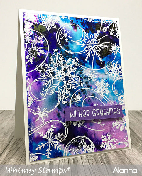 Snow Flurry Background Rubber Cling Stamp - Whimsy Stamps