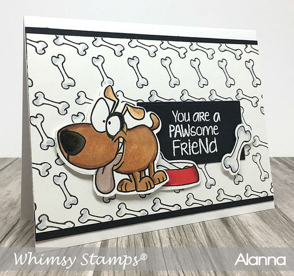 Caution Dog Slobber Clear Stamps - Whimsy Stamps