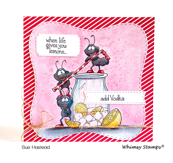 Ants Drink Up Rubber Cling Stamp - Whimsy Stamps