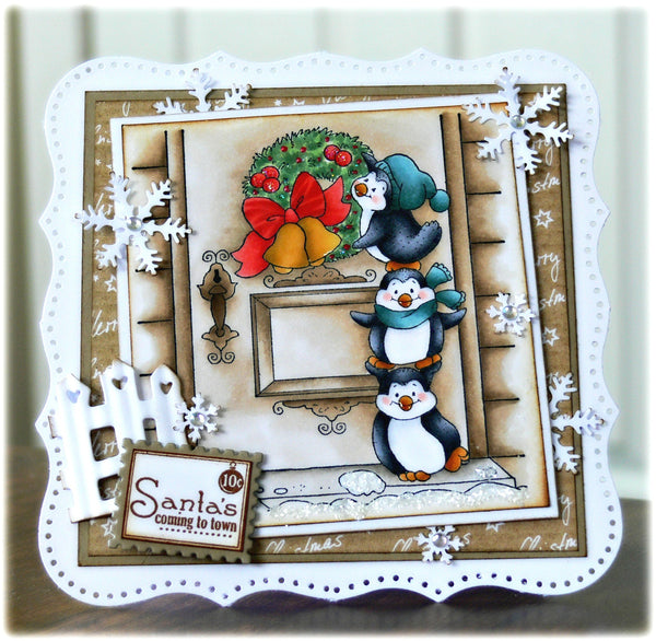 Penguins Hang a Wreath Rubber Cling Stamp - Whimsy Stamps