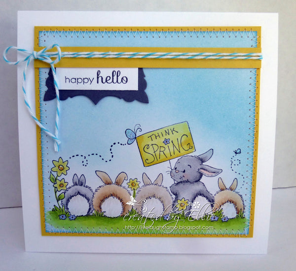 Think Spring Bunnies Rubber Cling Stamp - Whimsy Stamps