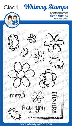 **NEW FaDoodle Flowers Clear Stamps - Whimsy Stamps