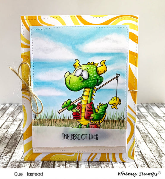 Fishing Dragons Clear Stamps - Whimsy Stamps