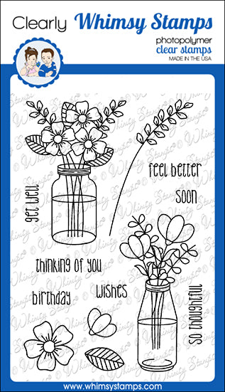 **NEW Flower Wishes Clear Stamps - Whimsy Stamps