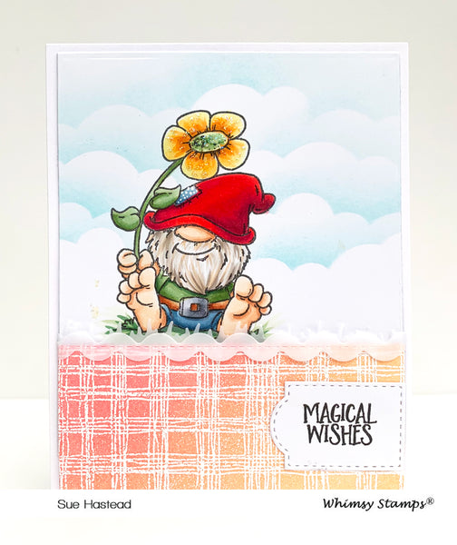 Scratchy Plaid Background Rubber Cling Stamp - Whimsy Stamps