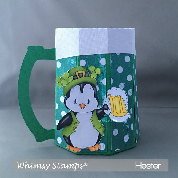 Penguin Lucky Shamrock - Digital Stamp - Whimsy Stamps