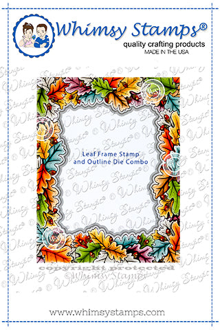 **NEW Leaf Frame Rubber Cling Stamp and Die Combo