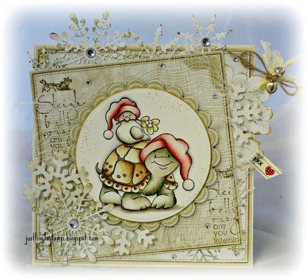 Christmas Turtle & Dove Rubber Cling Stamp