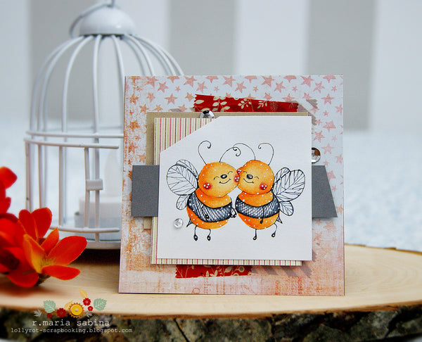 Bee Happy Rubber Cling Stamp - Whimsy Stamps