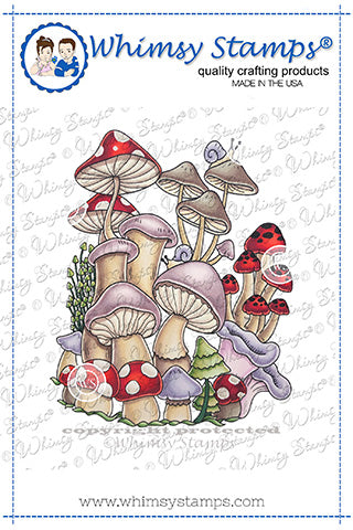 **NEW Mushroom Mash Up Rubber Cling Stamp - Whimsy Stamps