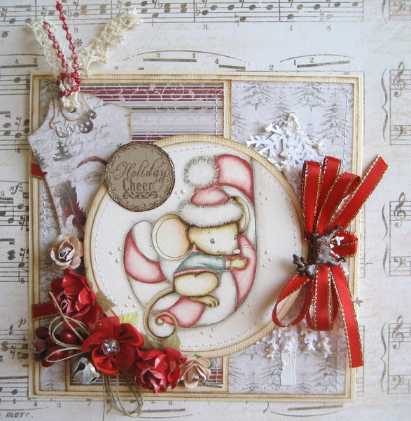 Mousey Candy Cane Rubber Cling Stamp