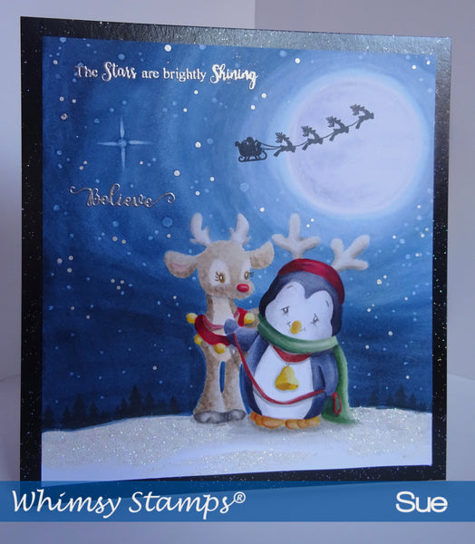 Penguin and Reindeer Friend Rubber Cling Stamp - Whimsy Stamps
