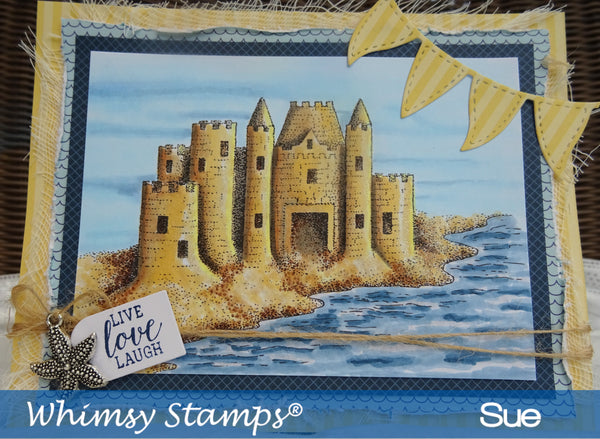 Sand Castle Rubber Cling Stamp - Whimsy Stamps