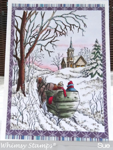 Sleigh Ride Rubber Cling Stamp
