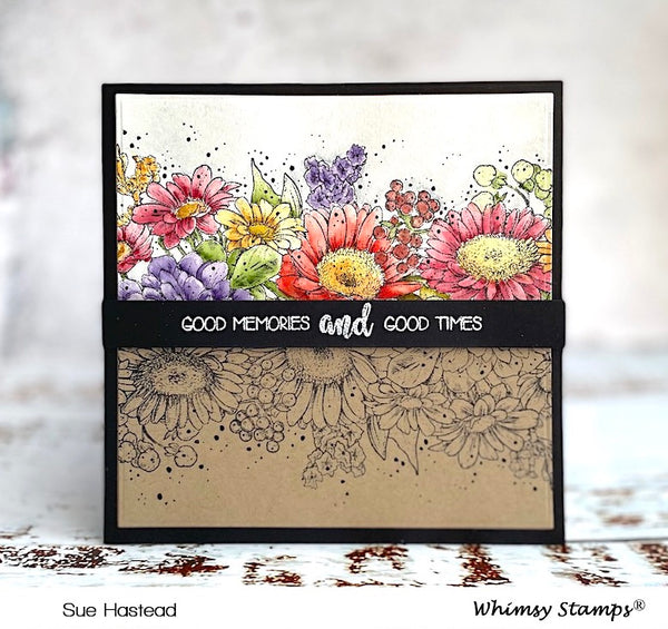 **NEW Gerbera Daisies Background Rubber Cling Stamp and Die Combo - Whimsy Stamps