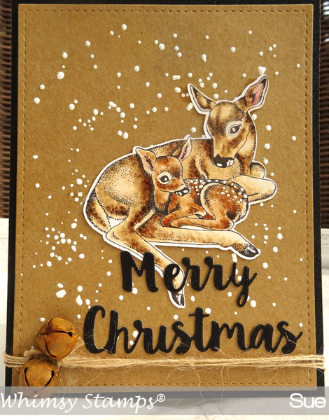 Doe and Fawn Rubber Cling Stamp