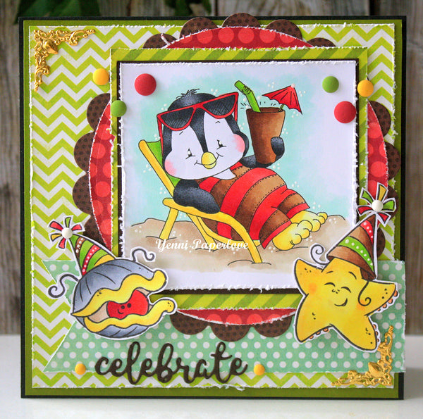 Penguin Beach Chair - Digital Stamp - Whimsy Stamps