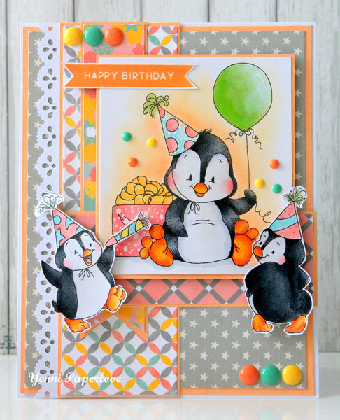 Penguin Birthday Rubber Cling Stamp - Whimsy Stamps