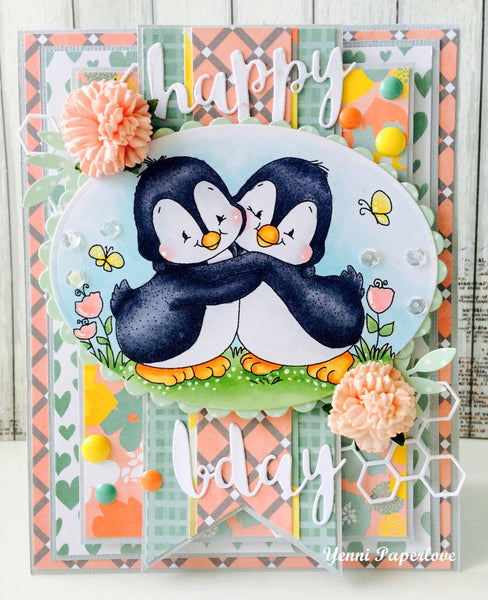 Penguin Hugs Rubber Cling Stamp - Whimsy Stamps