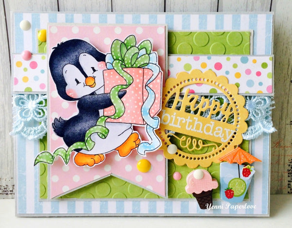 Penguin Prezzie Rubber Cling Stamp - Whimsy Stamps