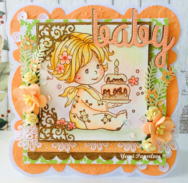 Birthday Baby Girl - Digital Stamp - Whimsy Stamps