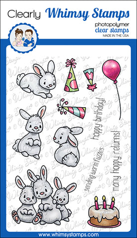 **NEW A Bunny Birthday Clear Stamps - Whimsy Stamps