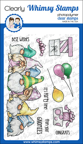 **NEW Gnome Party Row Clear Stamps - Whimsy Stamps