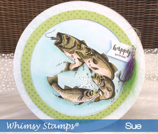 Large Mouth Bass Rubber Cling Stamp - Whimsy Stamps
