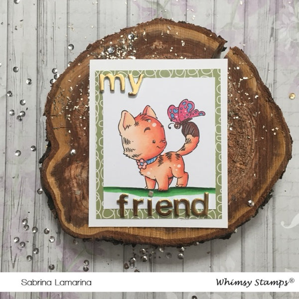 Kitty with Butterfly - Digital Stamp - Whimsy Stamps