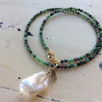 Zoisite Necklace, Bronze Heart Charm, Pearl Jewelry, Gold Filled, Ruby in Zoisite Jewelry