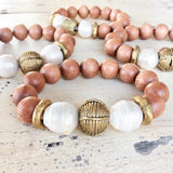 Rosewood & Freshwater Baroque pearls w African Brass Bracelet