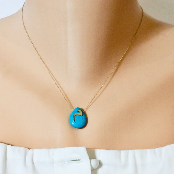 "18K Gold Letter ""M"" Turquoise Pendant Floating on Thin Chain"