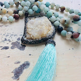 Amazonite Druzy Quartz Pendant Tassel Necklace at $150