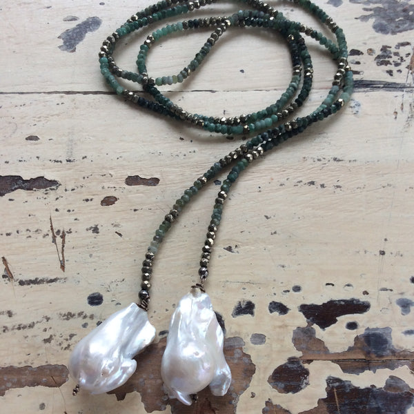 Ombre Emerald Open Lariat Necklace w Large Baroque Pearls For Woman