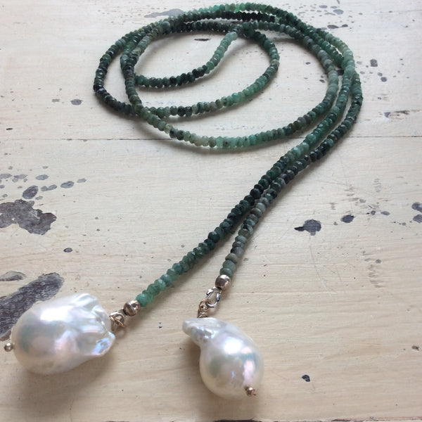 Shades of Emerald Long Lariat Necklace with Large Baroque Pearls