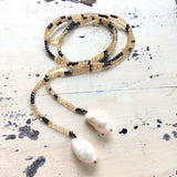 Ombre Citrine & Pyrites w Baroque Pearls Open Lariat Necklace For Woman