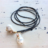 Back in Stock Studded Baroque Pearl Open Lariat Necklace at $168
