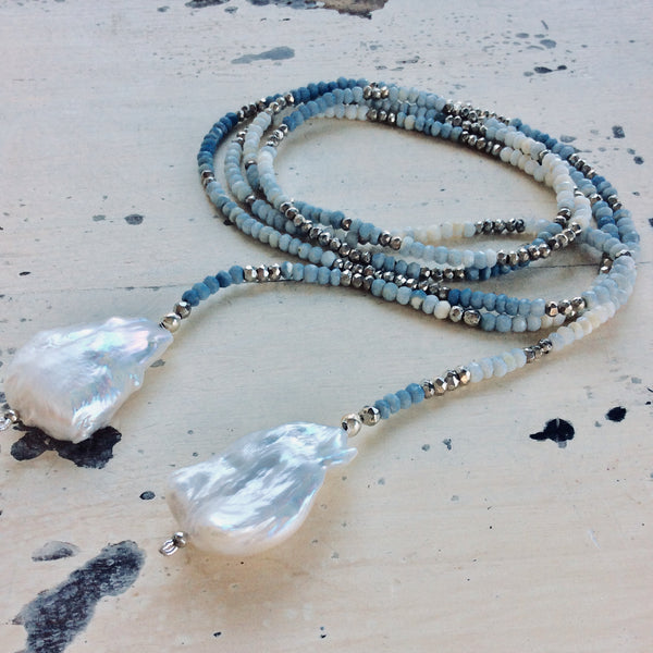 Shades of Blue Boulder Opal w Pyrites & Baroque Pearls Ombre Lariat Necklace For Woman