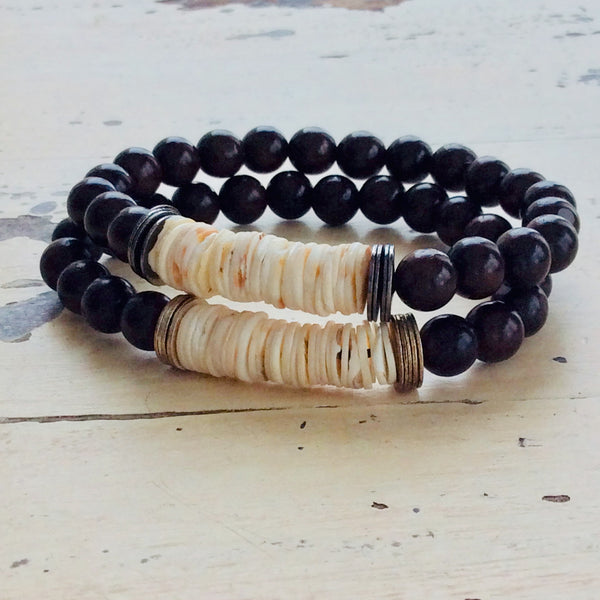 Ebony Wood with Senegal Organic Shell Bracelet for Him