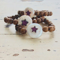 Wood Stretchy Coin Pearl Bracelet w Ruby Red & Sapphire Cz Star