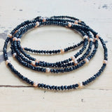 Charcoal Pyrites necklace w Lavender Pink Freshwater Pearls Long Opera Necklace at $328