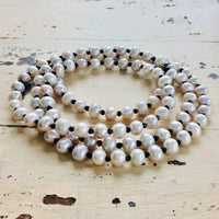 Women Long Necklace w Silver Pearls & Faceted Pyrite Beads