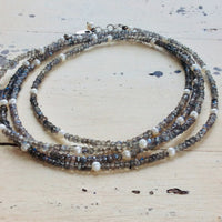 Labradorite Long Necklace w Pearls For Woman