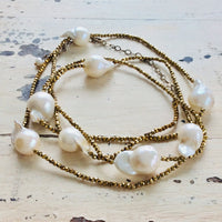 Gold Hematite & Baroque Pearls Opera Necklace