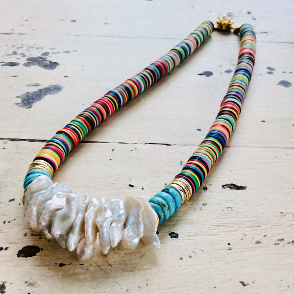 Boho Chic Summer Fun African Vulcanite with Turquoise & Keshi Pearls Choker at $128