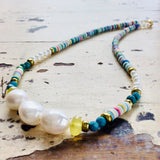 On-Trend African Vinyl Choker w Lemon Green Chalcedony w Turquoise and Pearls