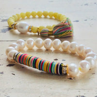 Boho Chic African Vinyl & Quartz Tassel Stretch Bracelet at $55