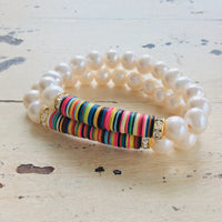 Boho Style African Vinyl & Pearls Stretch Bracelet at $124